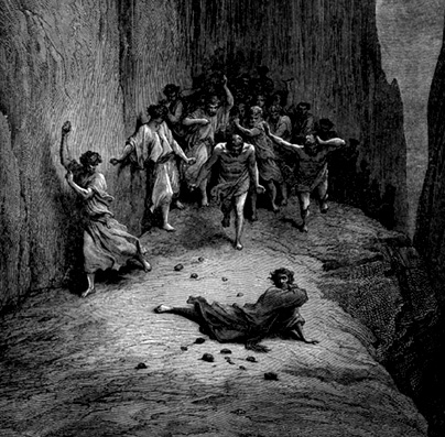 The stoning of St. Stephen, from Dante's Inferno by Gustav Doré